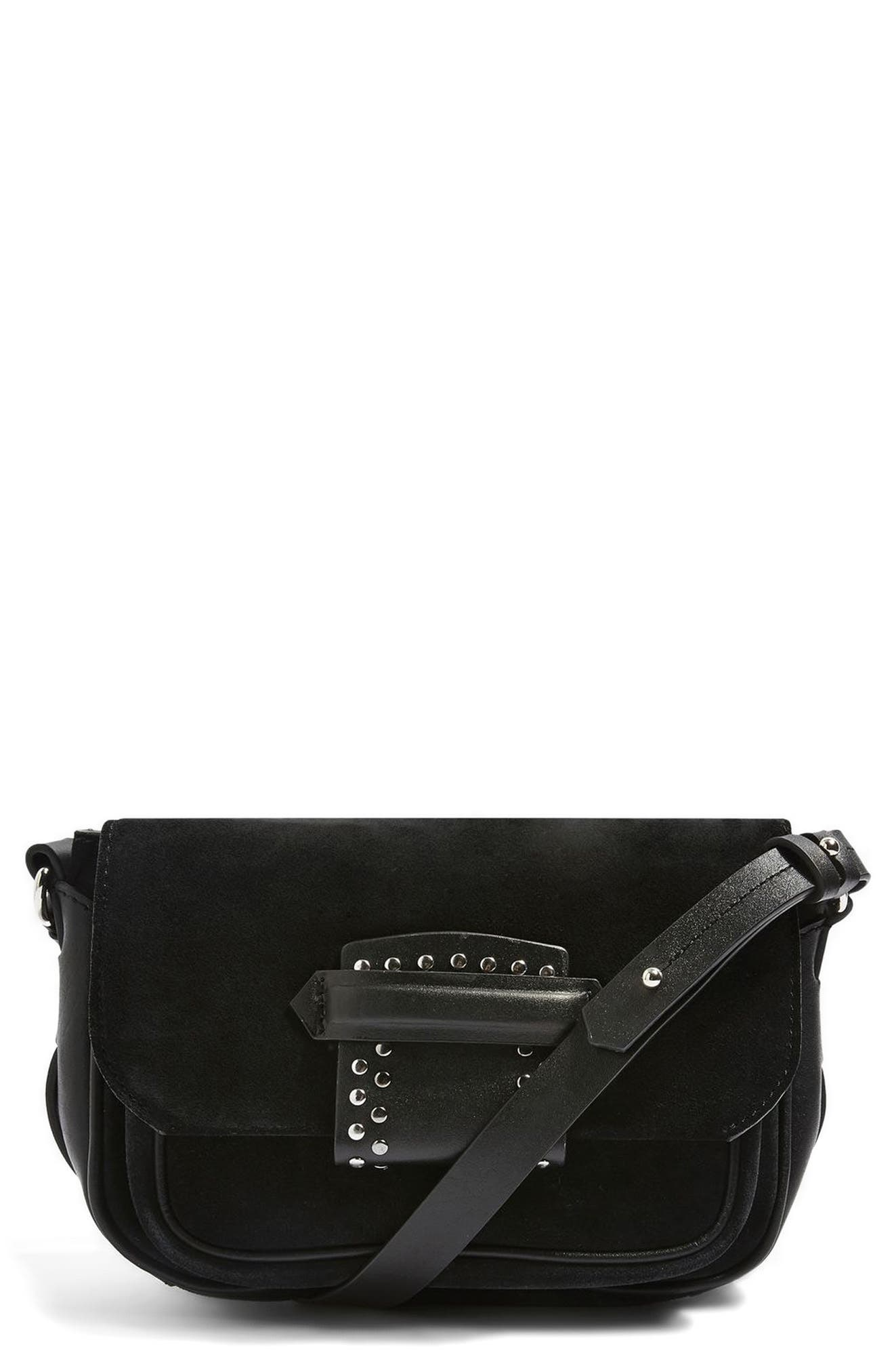 Topshop Leather & Suede Crossbody Bag