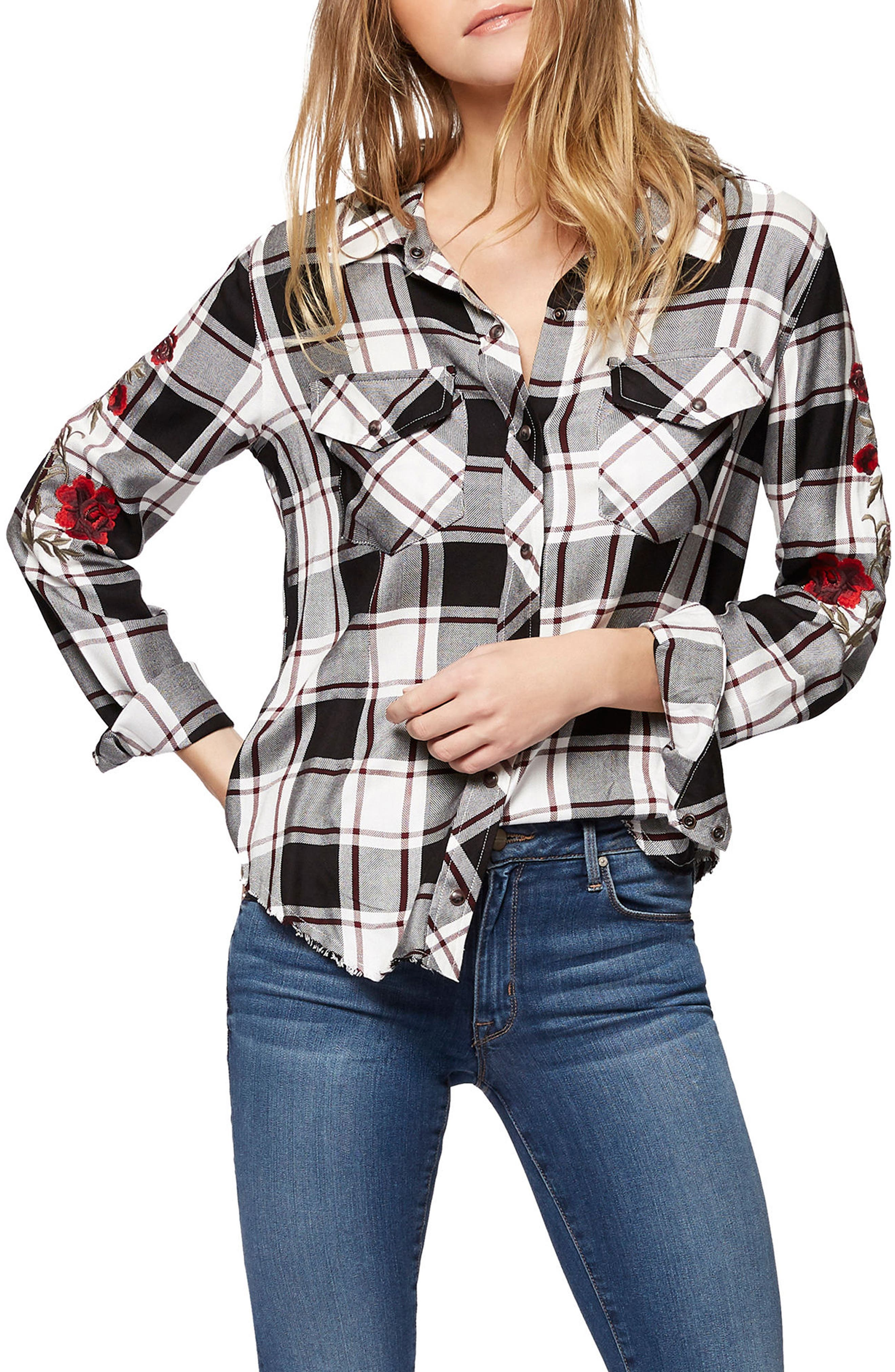 Sanctuary Clint Embroidered Plaid Shirt
