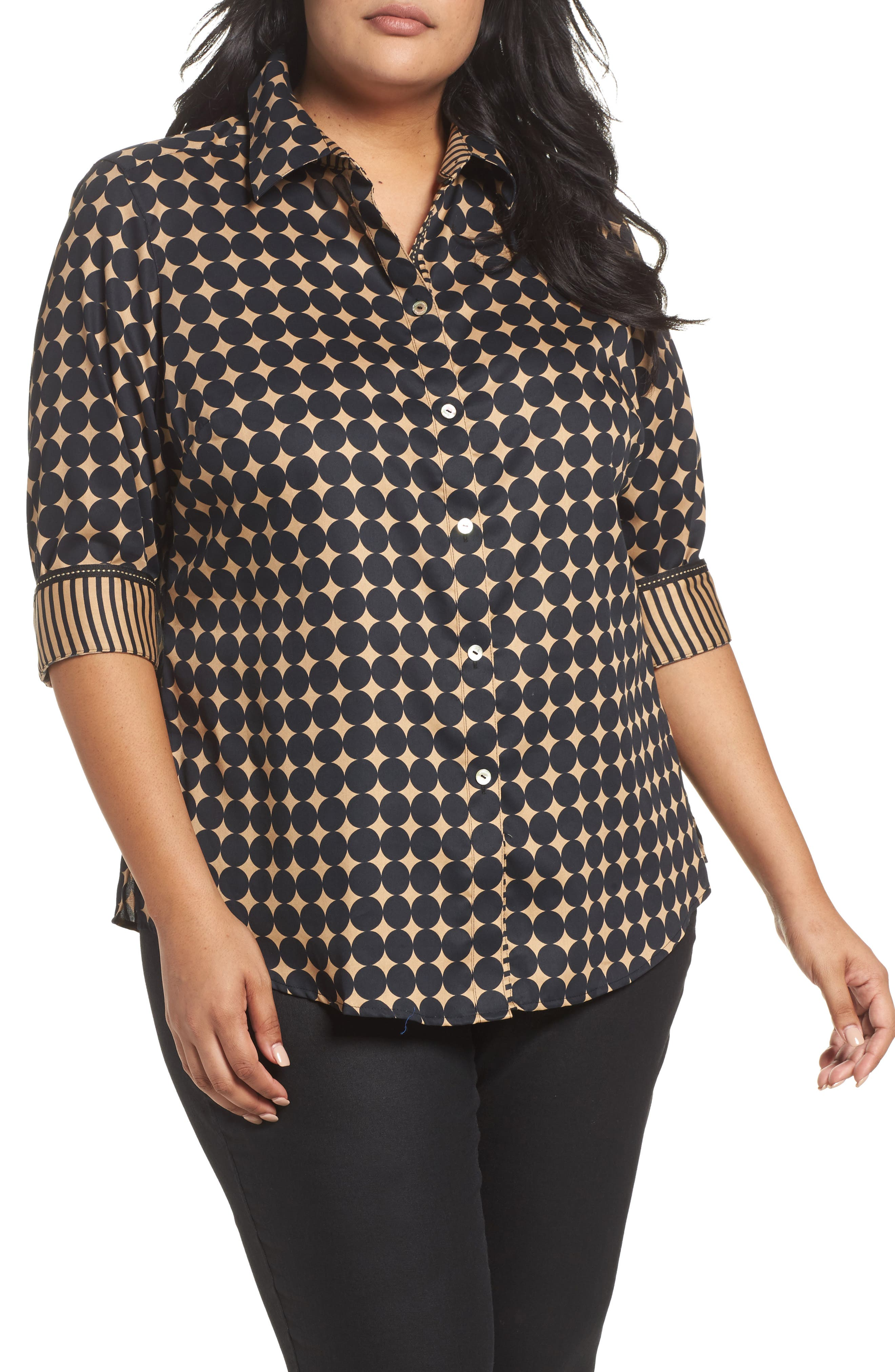 Foxcroft Ava Non-Iron Dot Print Cotton Shirt (Plus Size)