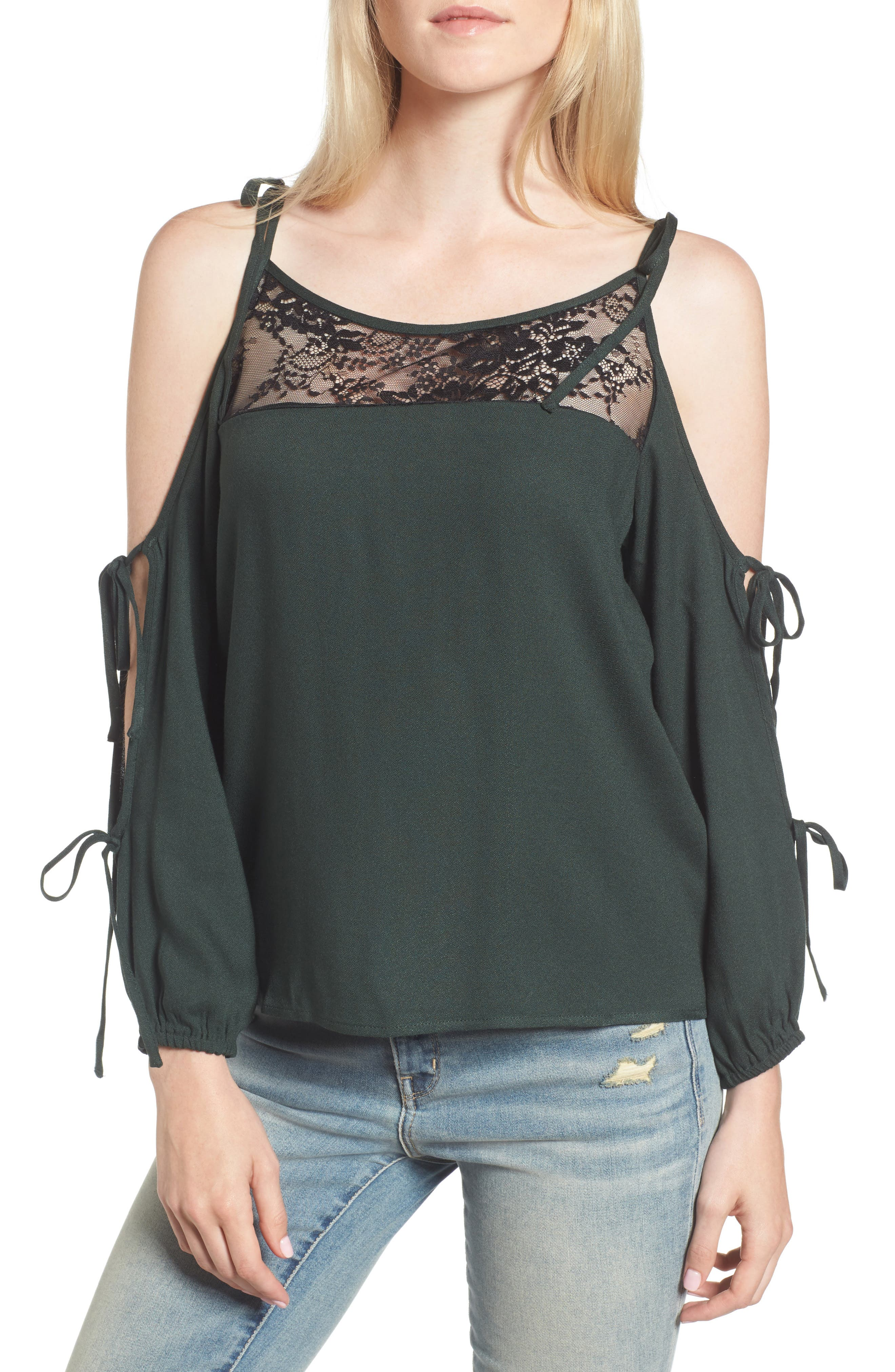 Ella Moss Tie Sleeve Cold Shoulder Top