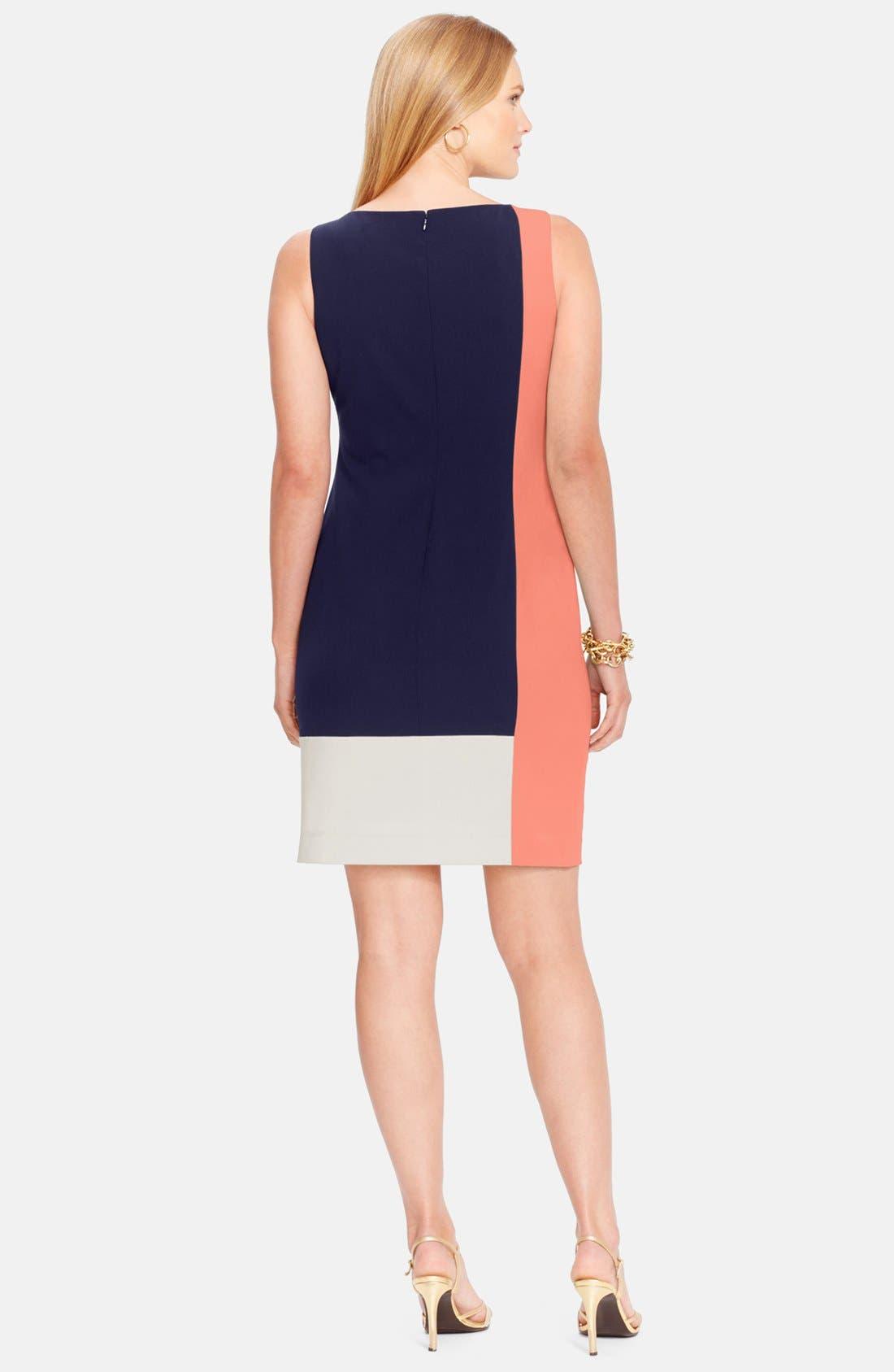 Alternate Image 2  - Lauren Ralph Lauren Colorblock Sleeveless Sheath Dress (Plus Size)