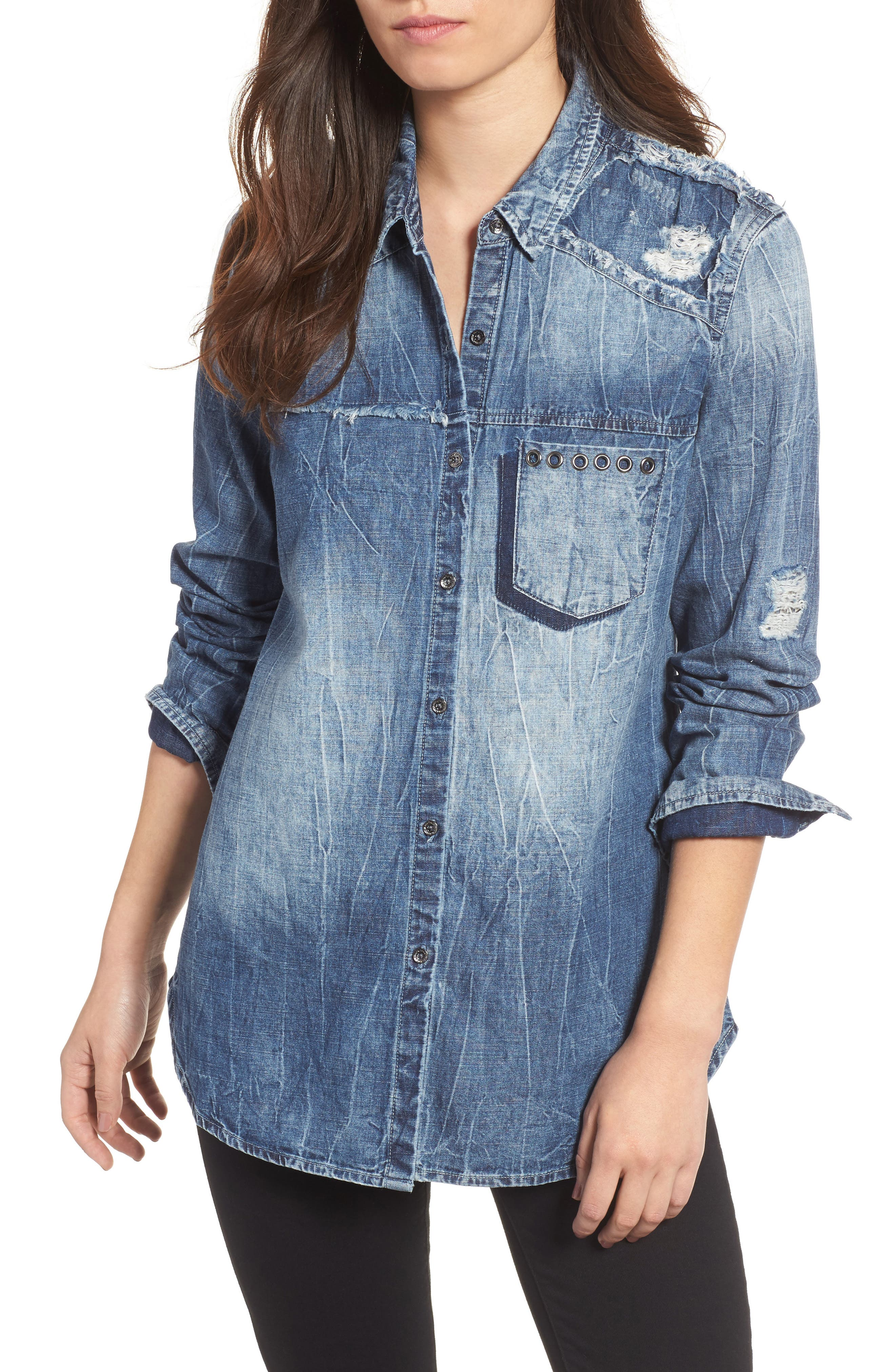 True Religion Brand Jeans Georgia Distressed Denim Shirt