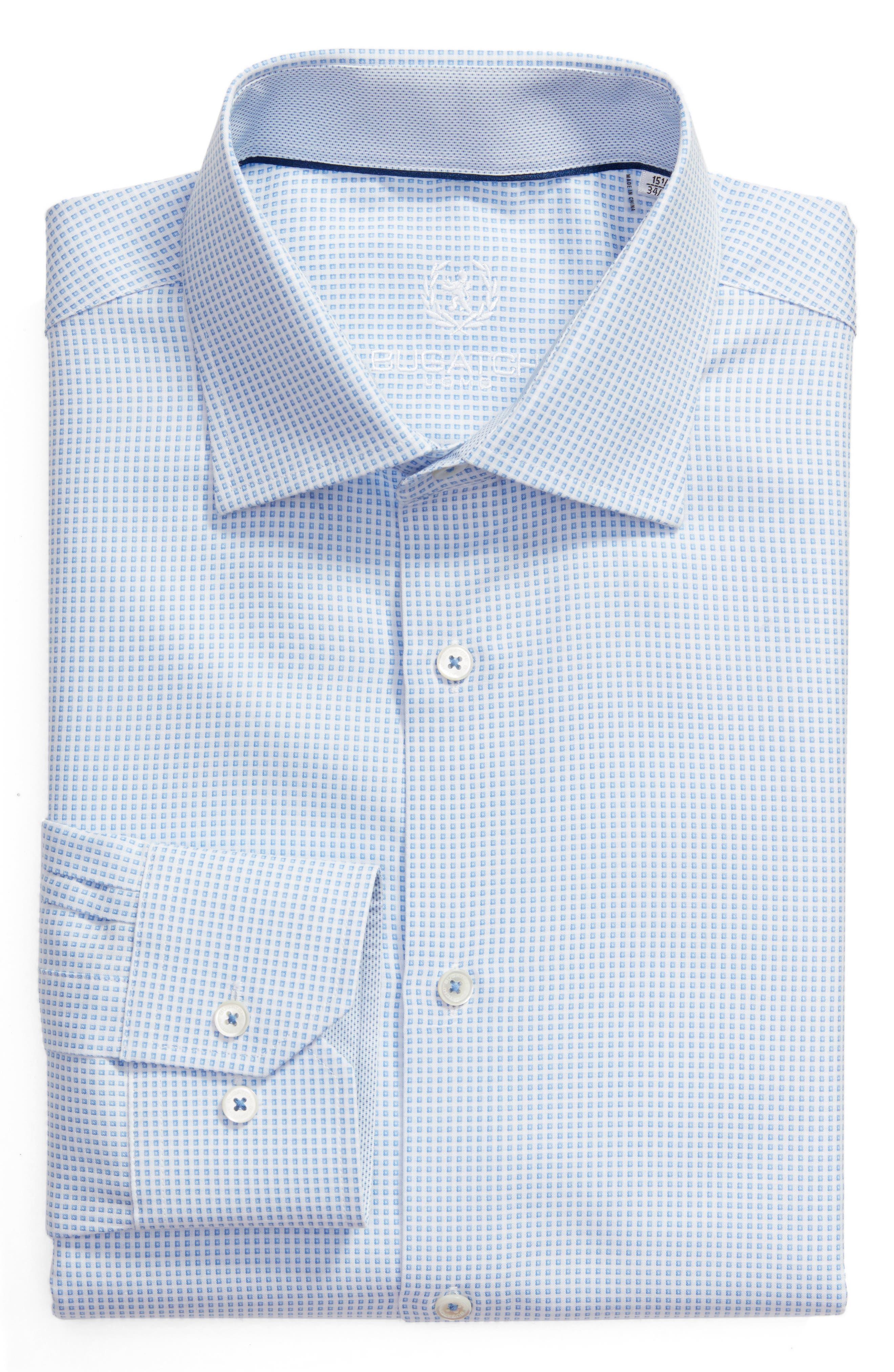 Bugatchi Trim Fit Dobby Check Dress Shirt