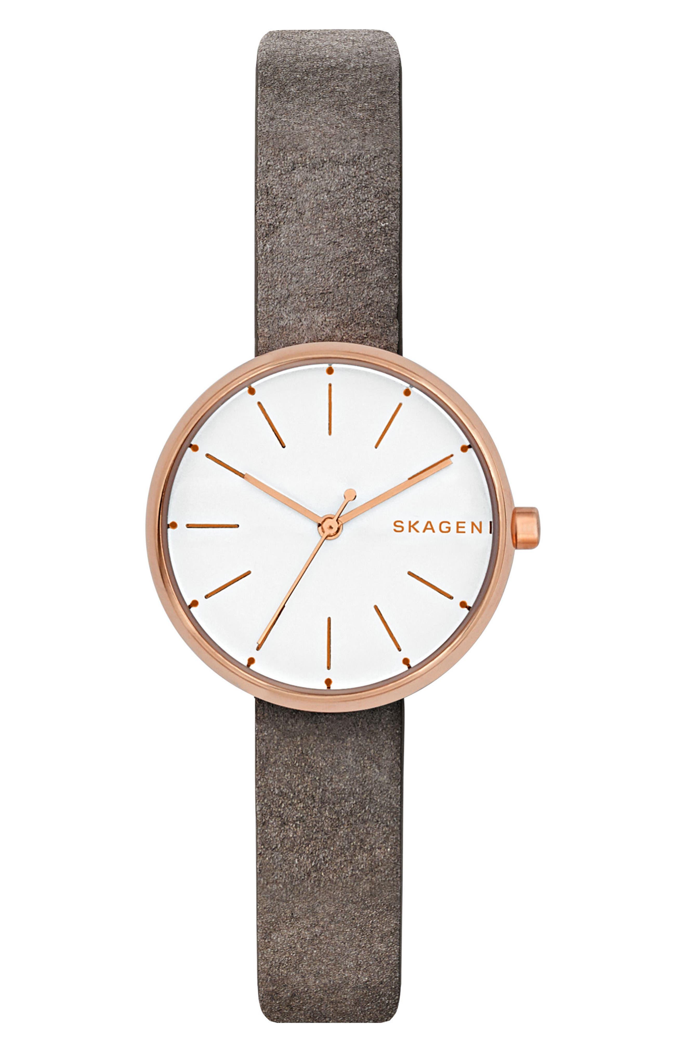 Skagen Signatur Leather Strap Watch, 30mm