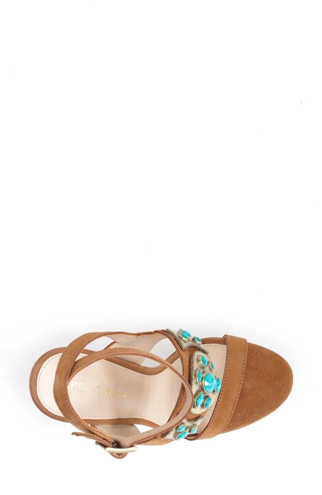Alternate Image 3  - Pelle Moda 'Cian' Jeweled Leather Ankle Strap Platform Sandal (Women)