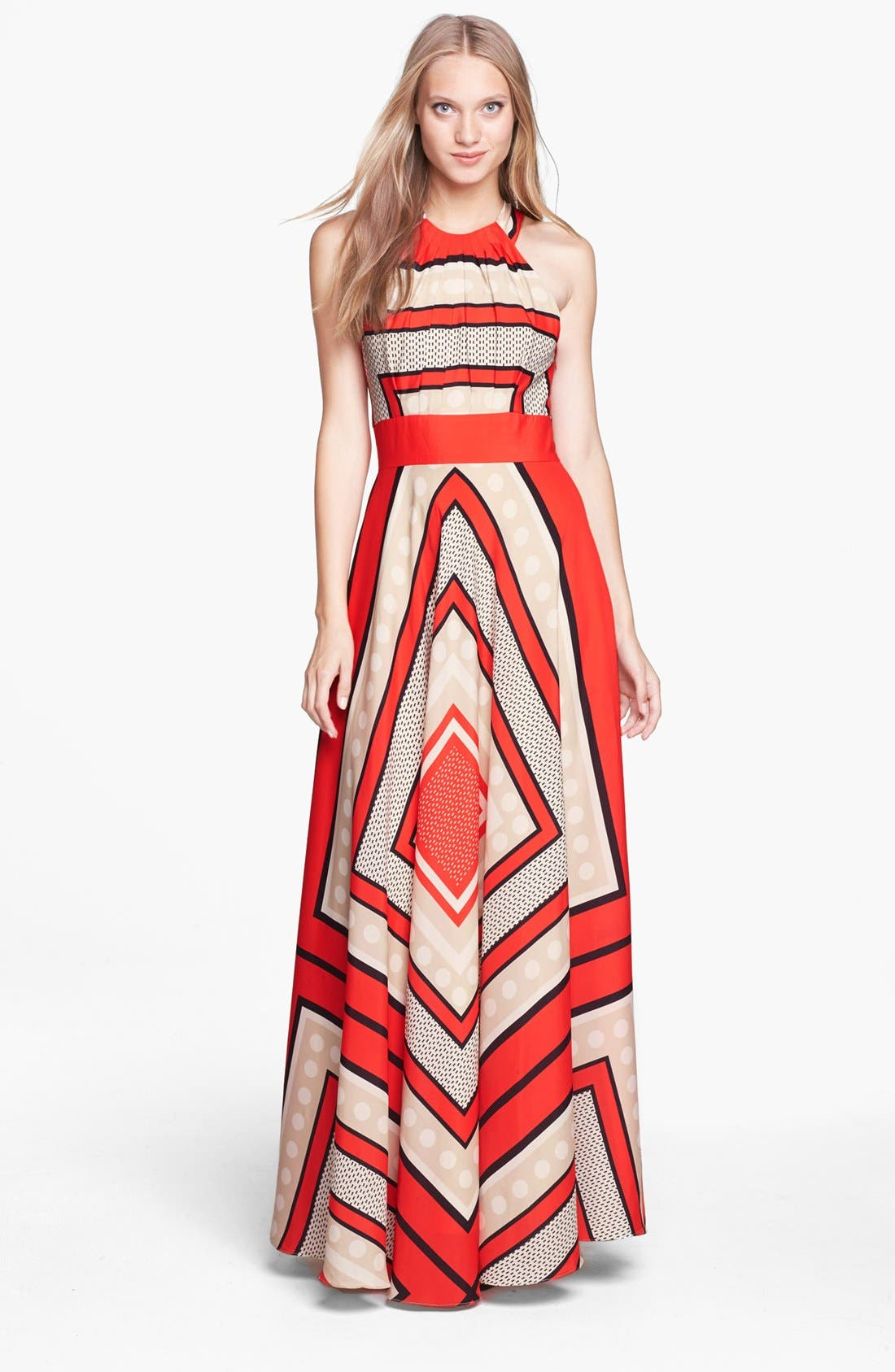 Alternate Image 1 Selected - Eliza J Scarf Print Crêpe de Chine Fit & Flare Maxi Dress (Regular & Petite)