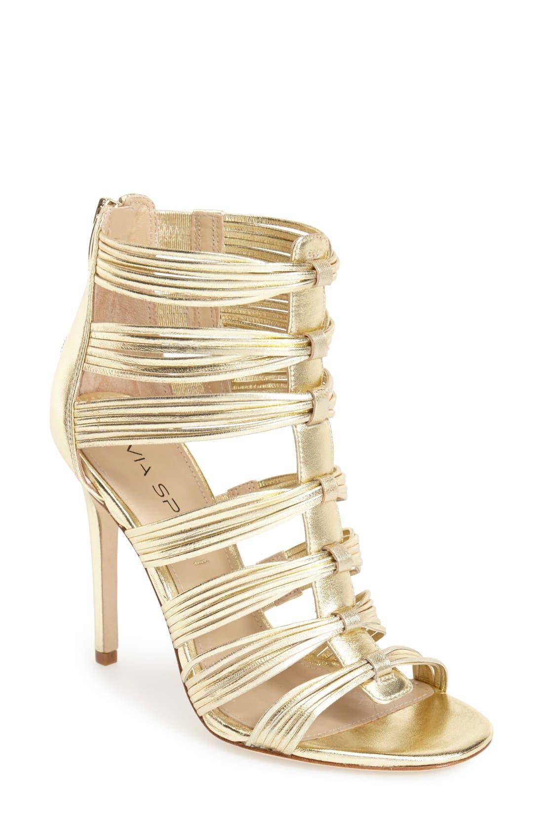 Alternate Image 1 Selected - Via Spiga 'Terelle' Open Toe Cage Leather Sandal (Women)