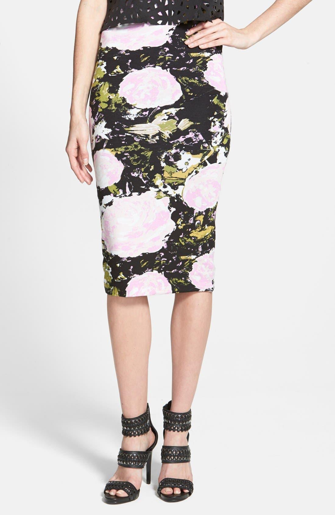 Main Image - Leith High Waist Print Midi Skirt