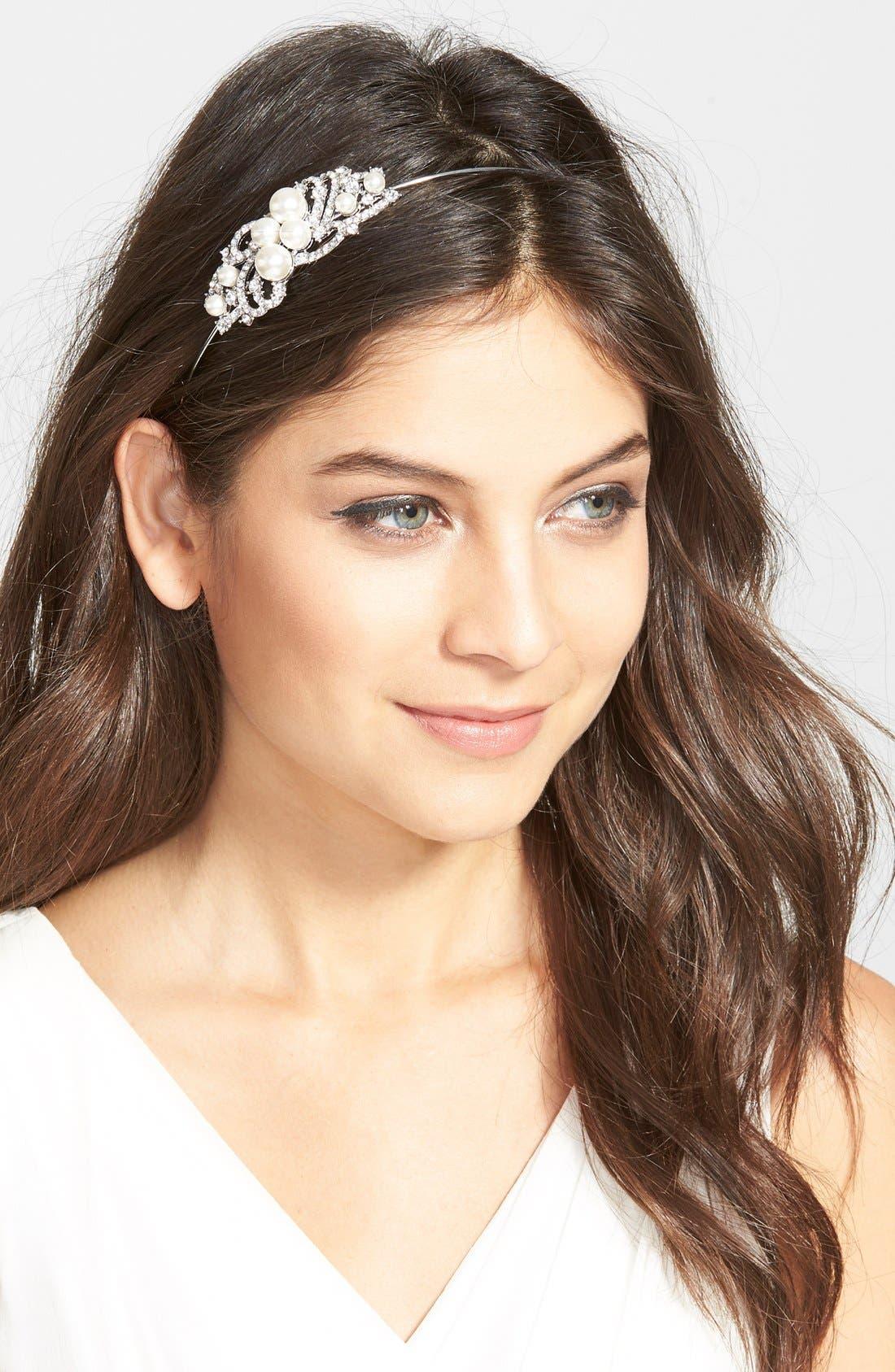 Main Image - Nina Faux Pearl Medallion Headband