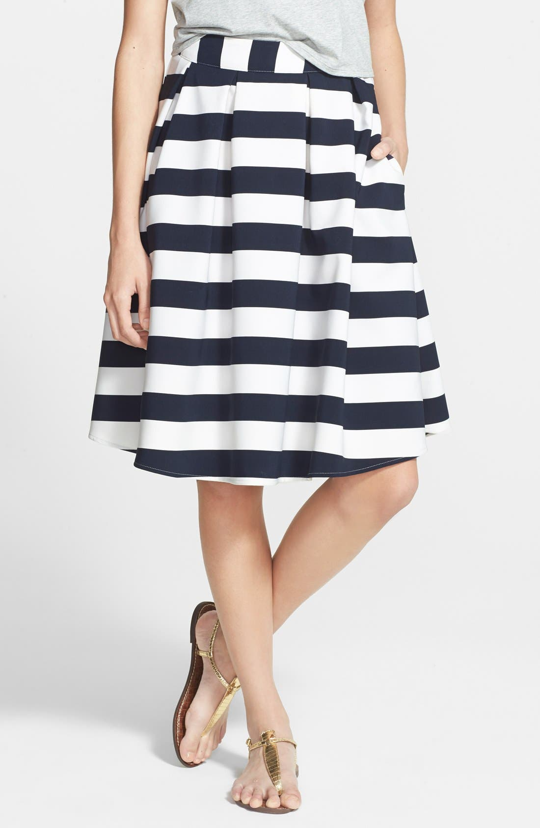 Main Image - Lucy Paris 'Bardot' Pleated Stripe Midi Skirt