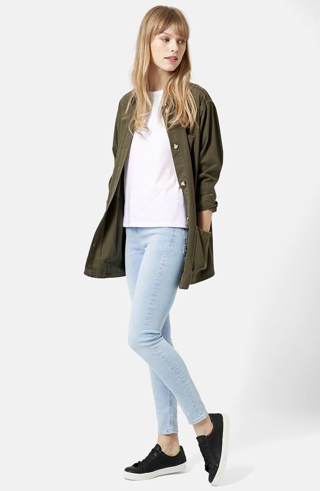 Alternate Image 5  - Topshop Moto 'Jamie' Bleached Skinny Jeans (Light Denim) (Regular & Short)