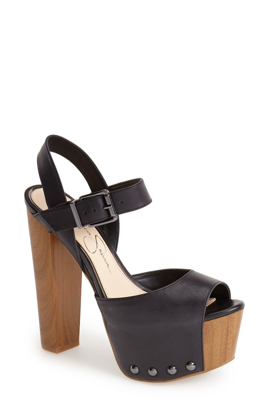 Alternate Image 1 Selected - Jessica Simpson 'Daelyn' Studded Leather Platform Sandal (Women)