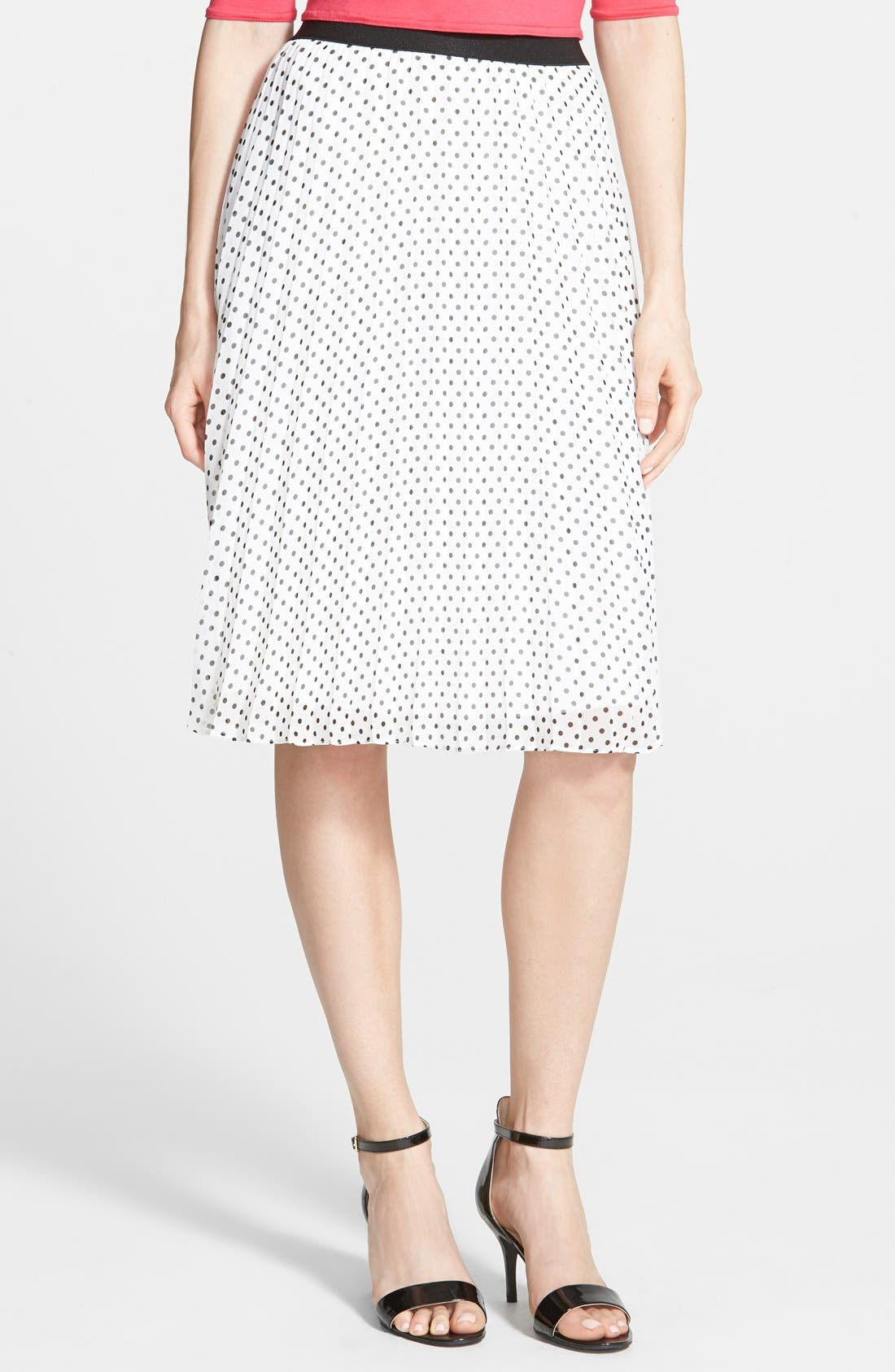Main Image - Soprano Print Pleated Midi Skirt (Juniors)
