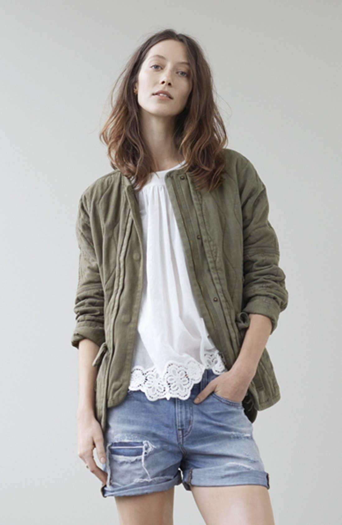 Alternate Image 5  - Madewell Eyelet Hem Peasant Top
