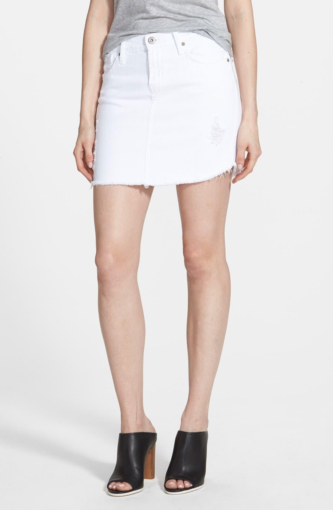 Main Image - James Jeans Denim Cutoff Miniskirt (White Opaque)