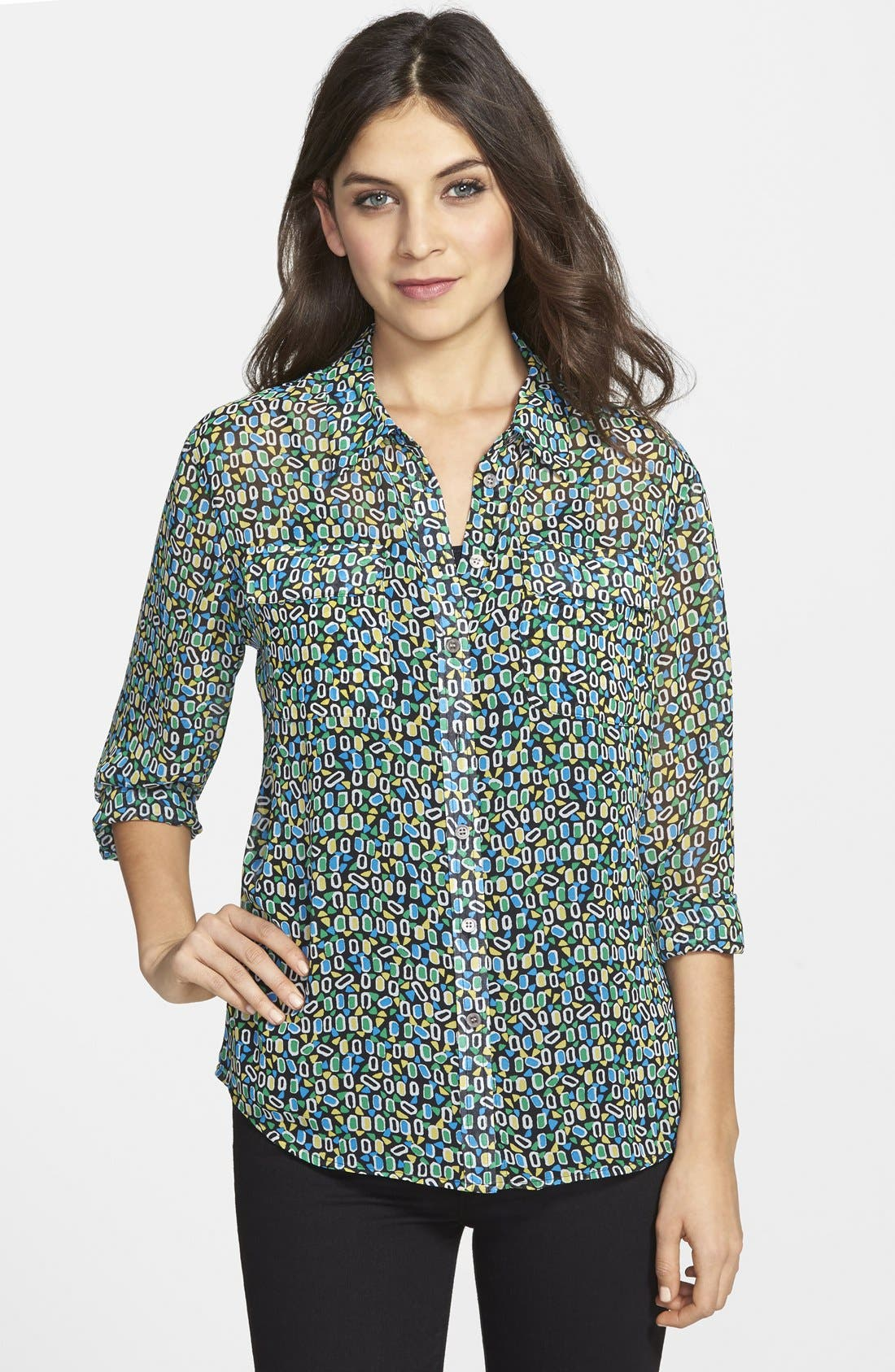 Alternate Image 1 Selected - Two by Vince Camuto Print Shirt (Regular & Petite)