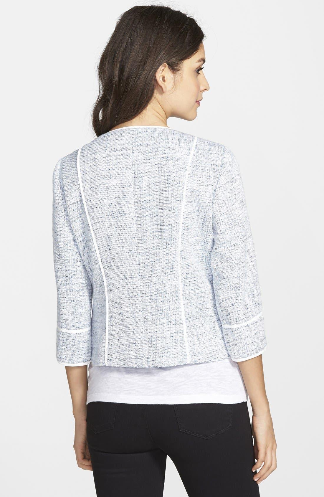 Alternate Image 2  - Vince Camuto Contrast Trim Collarless Tweed Jacket (Regular & Petite)