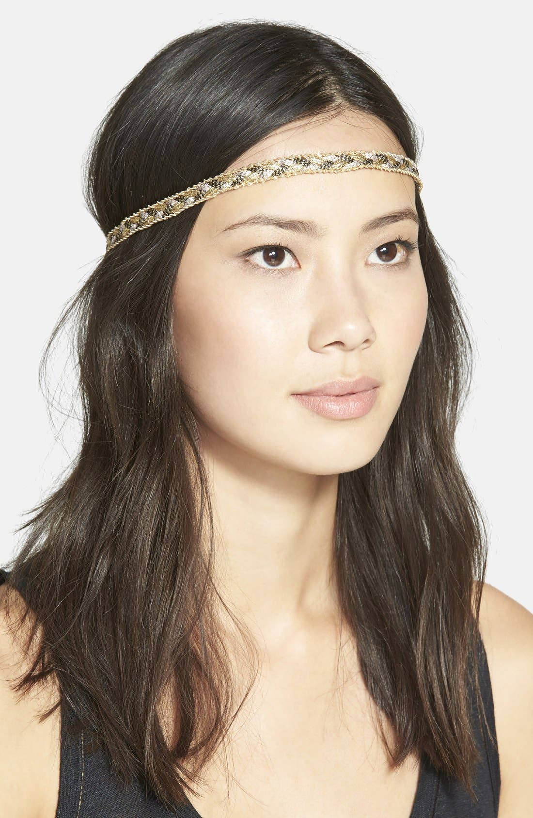 Alternate Image 1 Selected - Alexia Crawford Braided Metallic Head Wrap