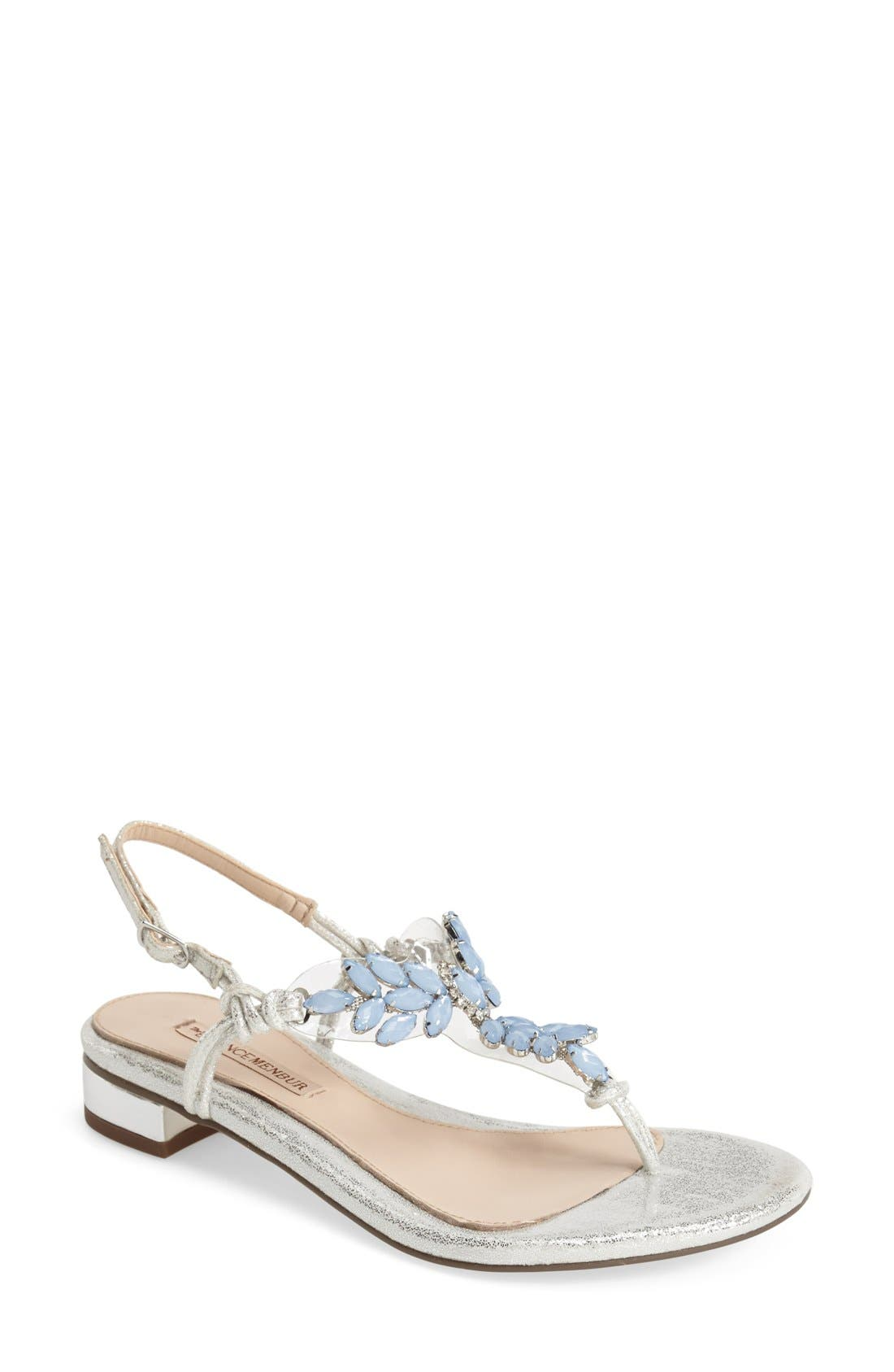 Alternate Image 1 Selected - Menbur 'Dolara' Crystal Embellished Satin Thong Sandal (Women)