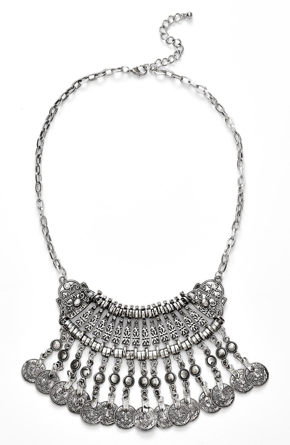 Main Image - BP. Etched Coin Statement Necklace