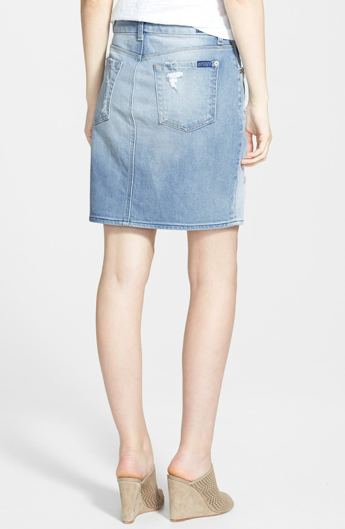 Alternate Image 2  - 7 For All Mankind® Destroyed Mid Rise Denim Pencil Skirt (Light Sky Blue)