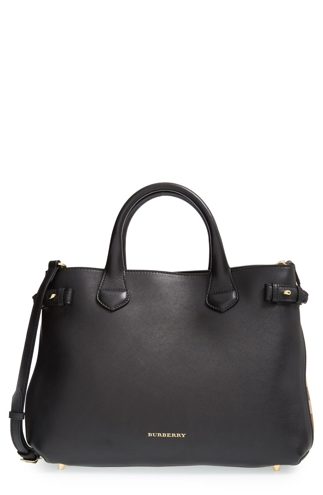 Alternate Image 1 Selected - Burberry 'Medium Banner' House Check Leather Tote