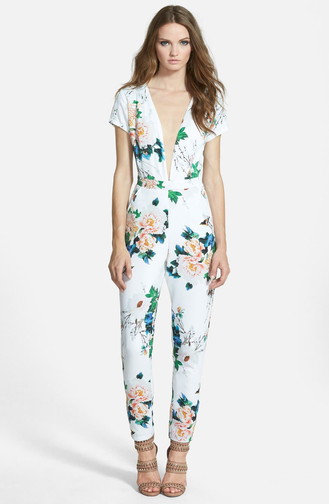 Alternate Image 1 Selected - Missguided Floral Plunge Jumpsuit