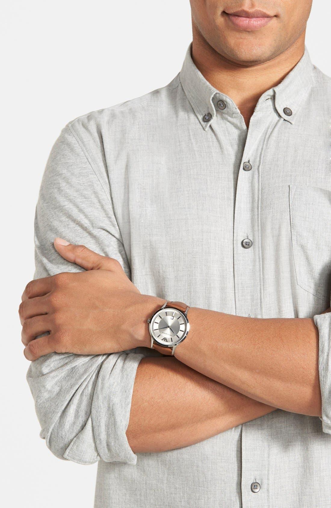 Alternate Image 3  - Emporio Armani Round Leather Strap Watch, 43mm