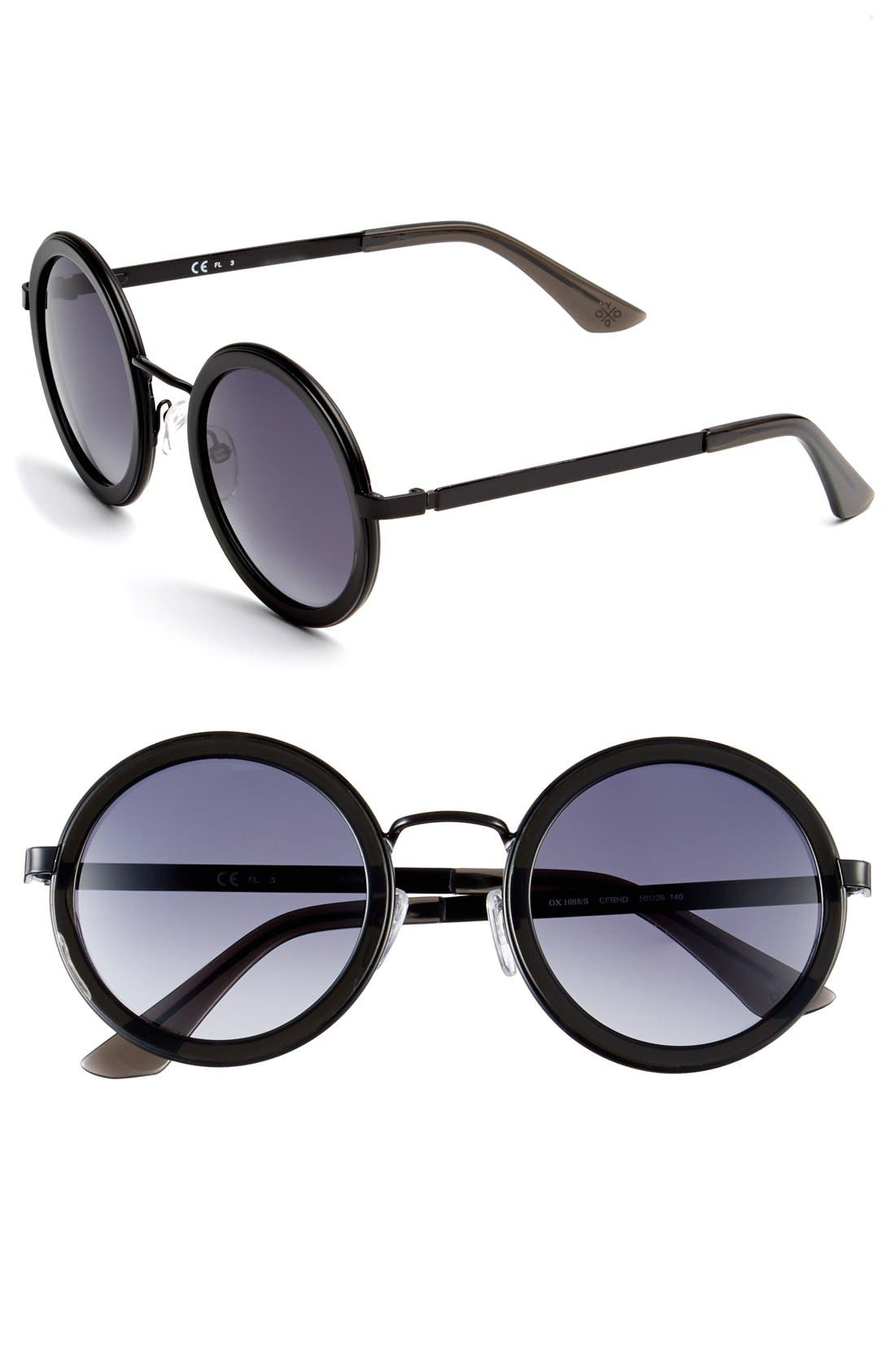Main Image - Oxydo 50mm Round Metal Accent Sunglasses