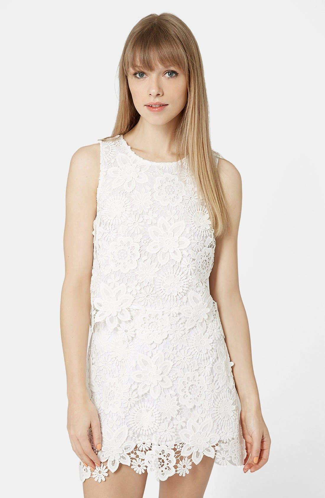 Main Image - Topshop Crochet Lace Shell Top (Petite)