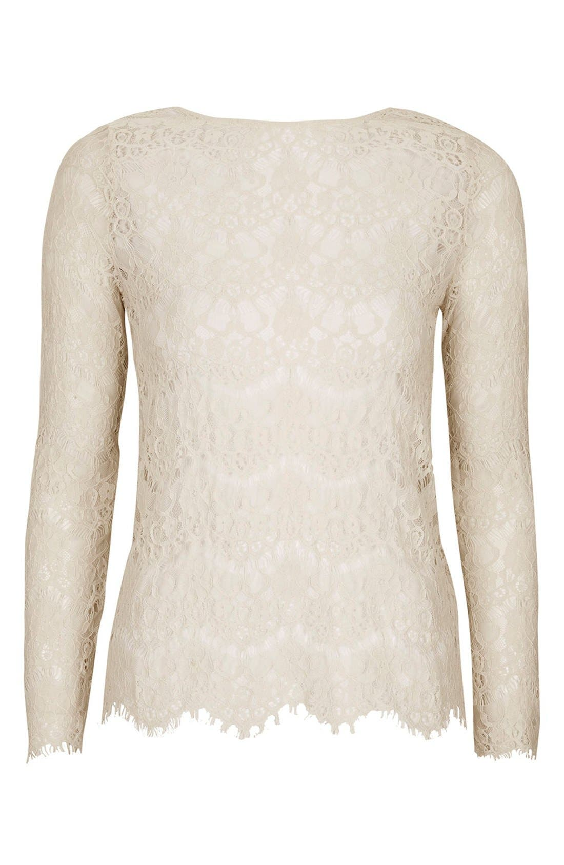 Alternate Image 3  - Topshop Long Sleeve Lace Top
