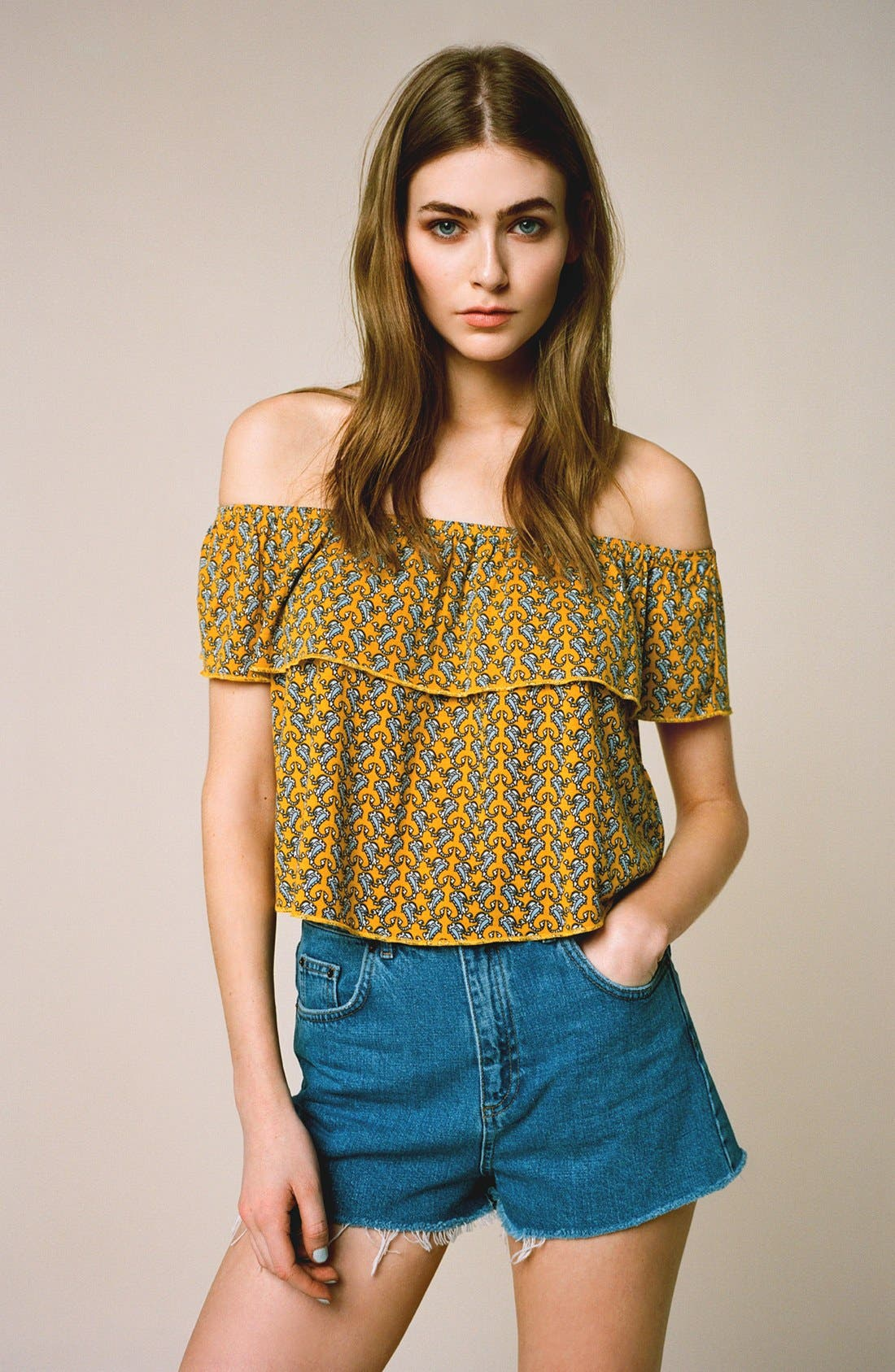 Alternate Image 5  - Topshop Paisley Off the Shoulder Top