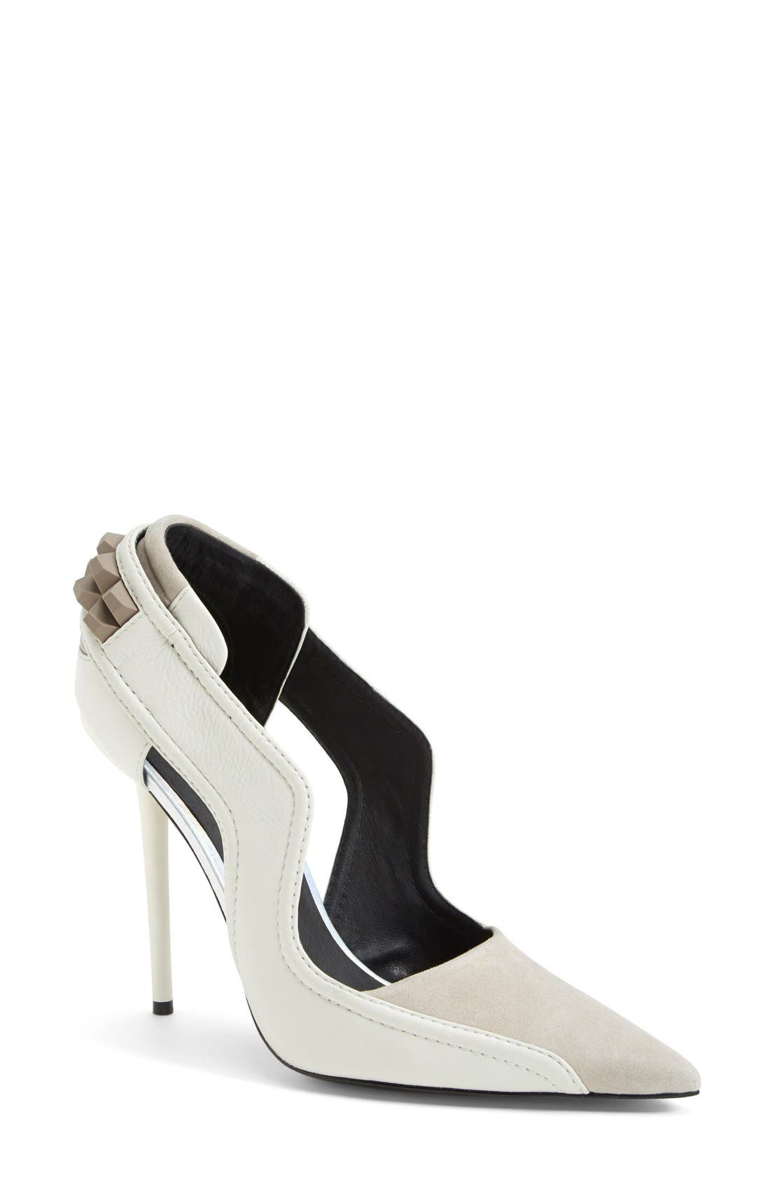 Alternate Image 1 Selected - L.A.M.B. 'Enforce' Leather & Suede Pointy Toe Pump (Women)