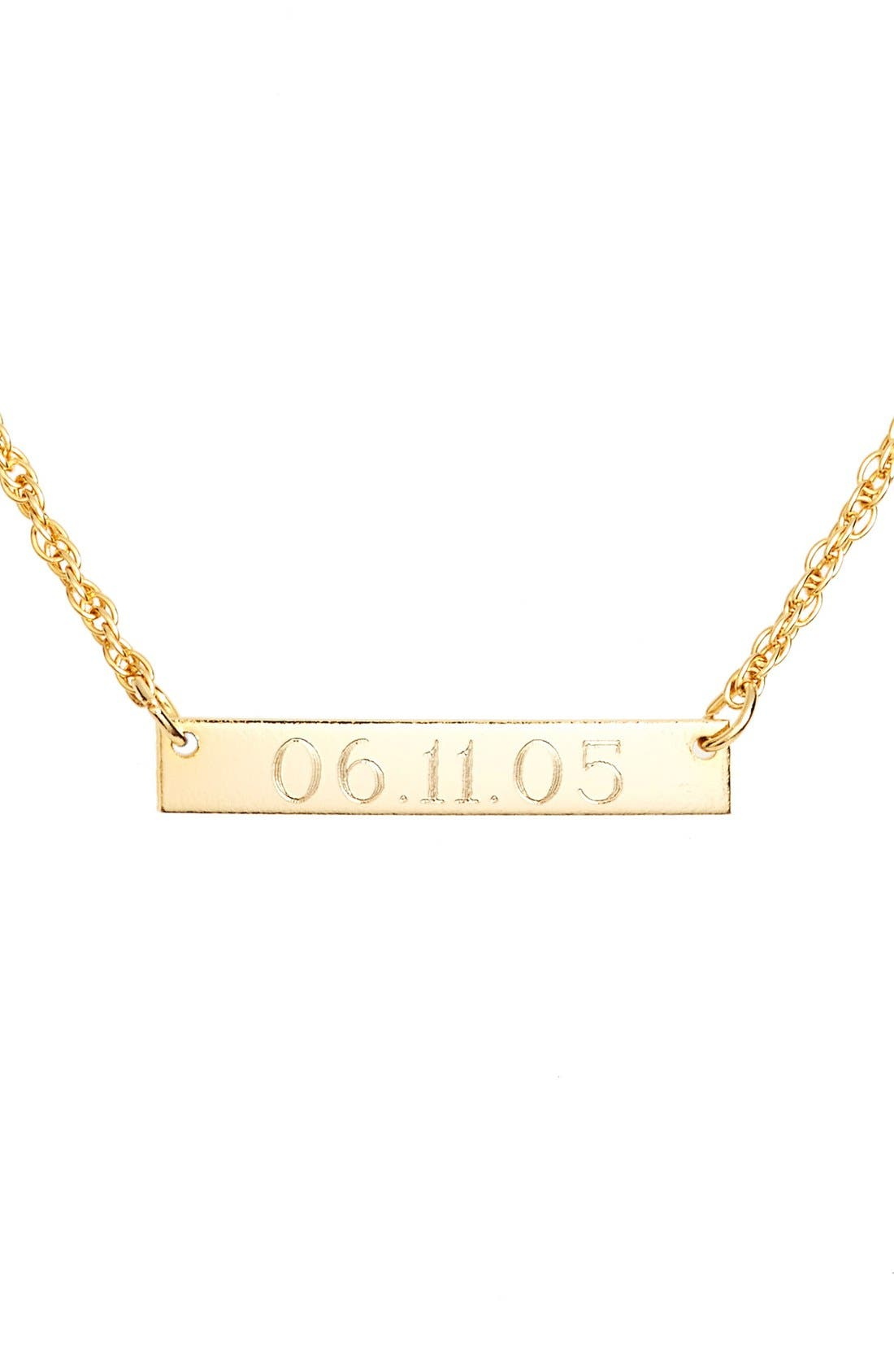 Alternate Image 1 Selected - Moon and Lola 'Block Font' Personalized Bar Pendant Necklace (Online Only)