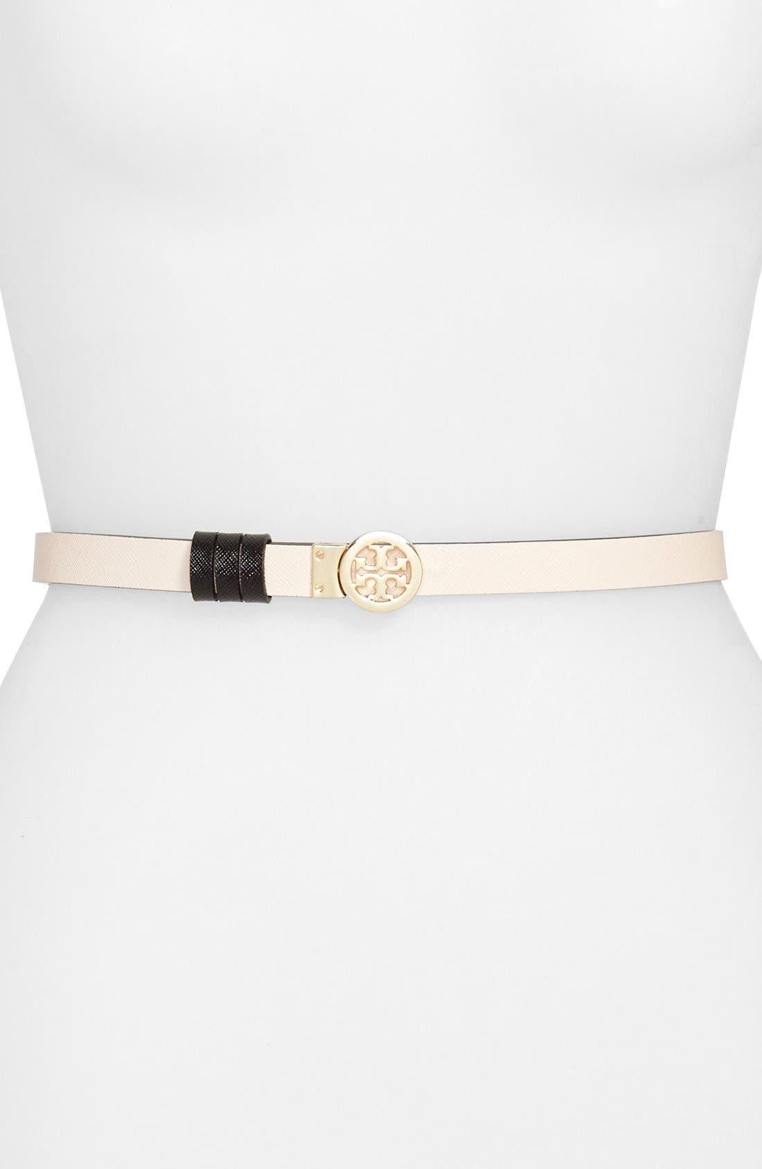 Main Image - Tory Burch Rotating Logo Skinny Leather Belt