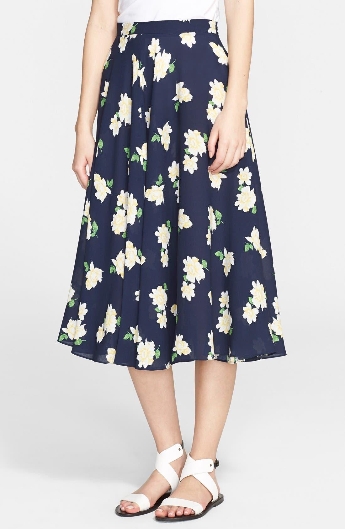 Main Image - Michael Kors Floral Print Silk Georgette Circle Skirt