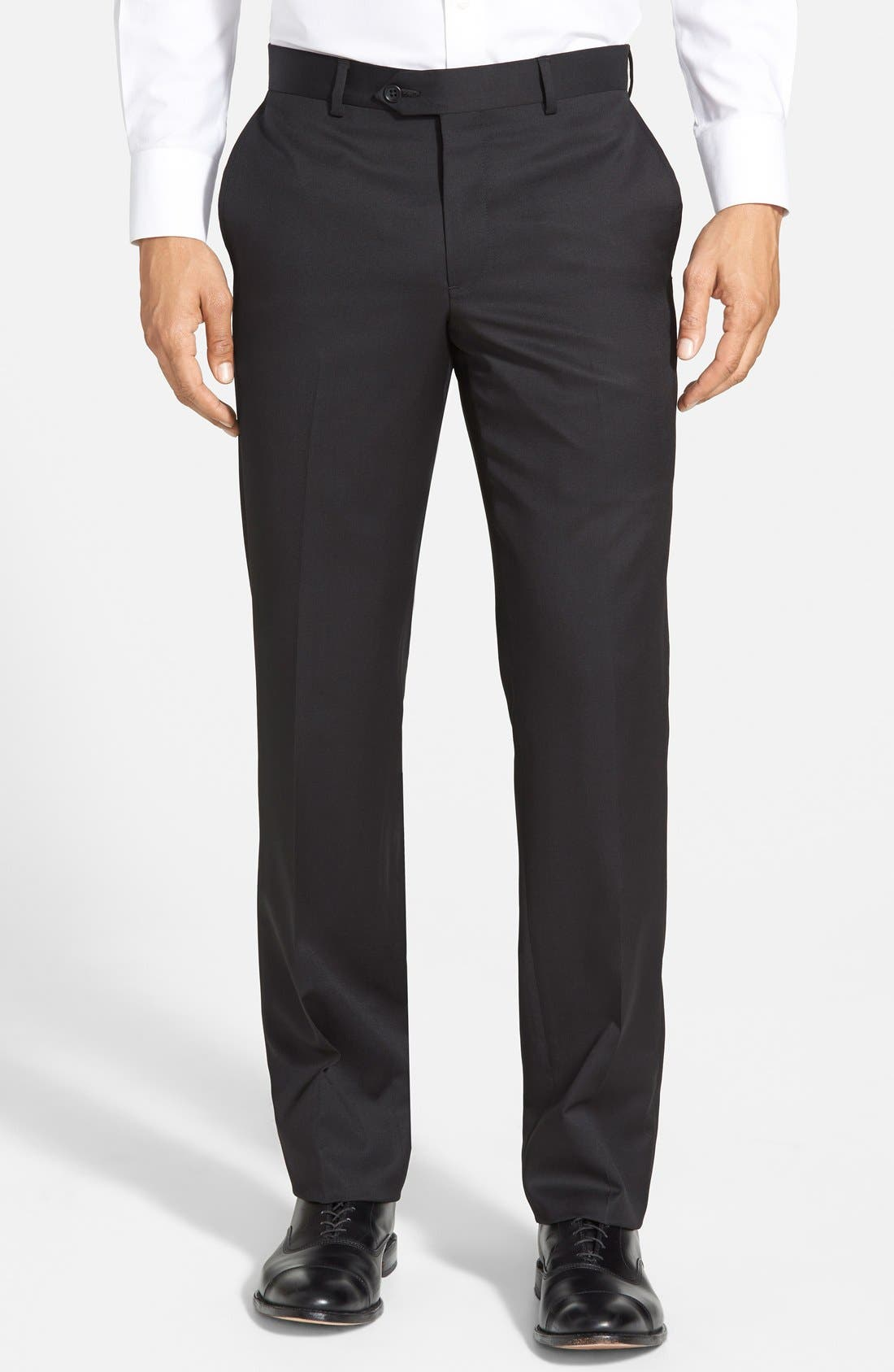 Nordstrom Men's Shop Flat Front Wool Trousers
