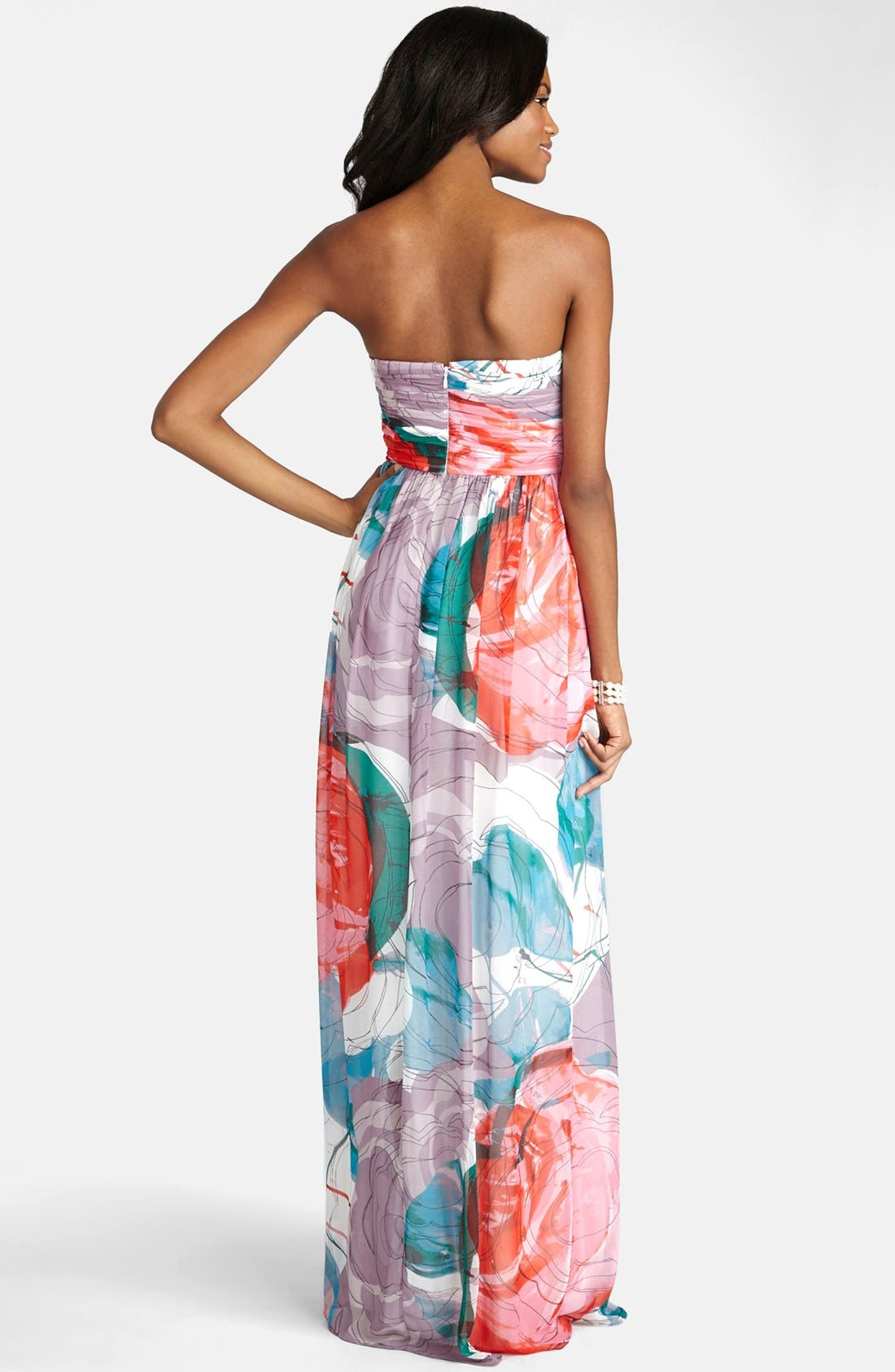 Alternate Image 2  - Donna Morgan 'Laura' Print Strapless Sweetheart Chiffon Gown