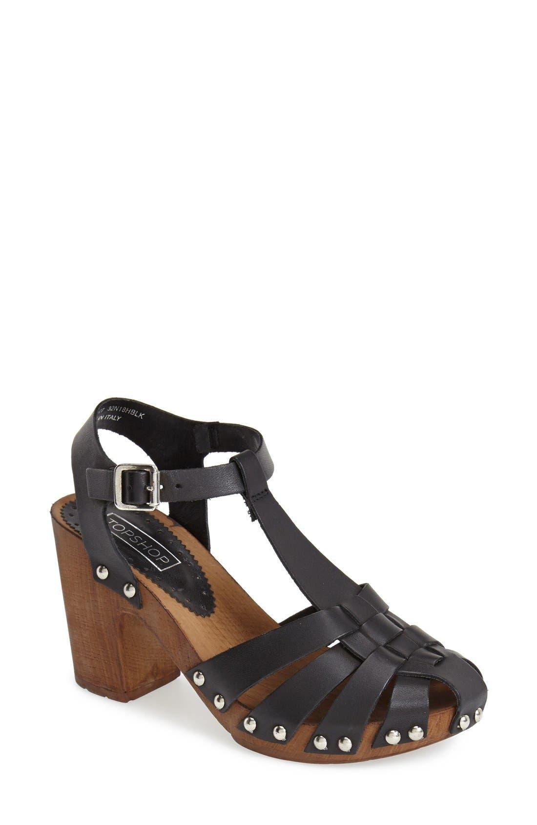 Main Image - Topshop 'Nelly' Leather Platform Sandal (Women)