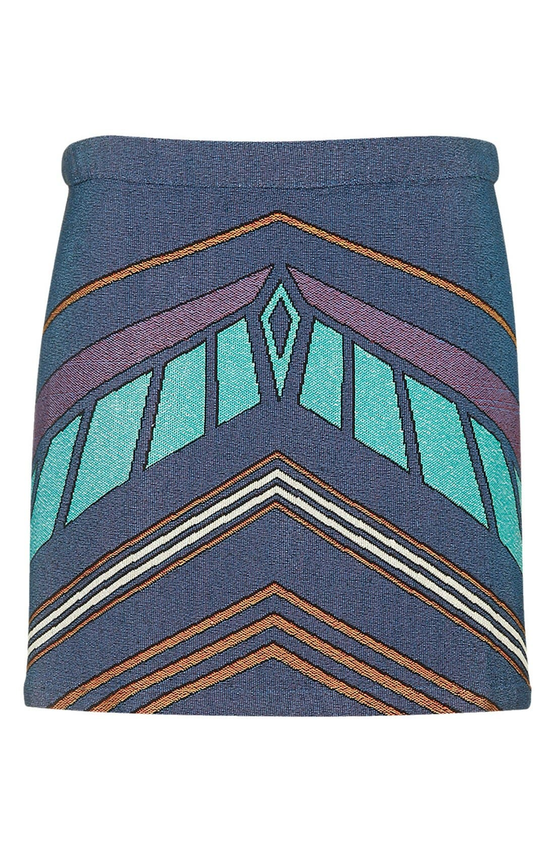 Alternate Image 4  - Topshop Chevron Print A-Line Skirt