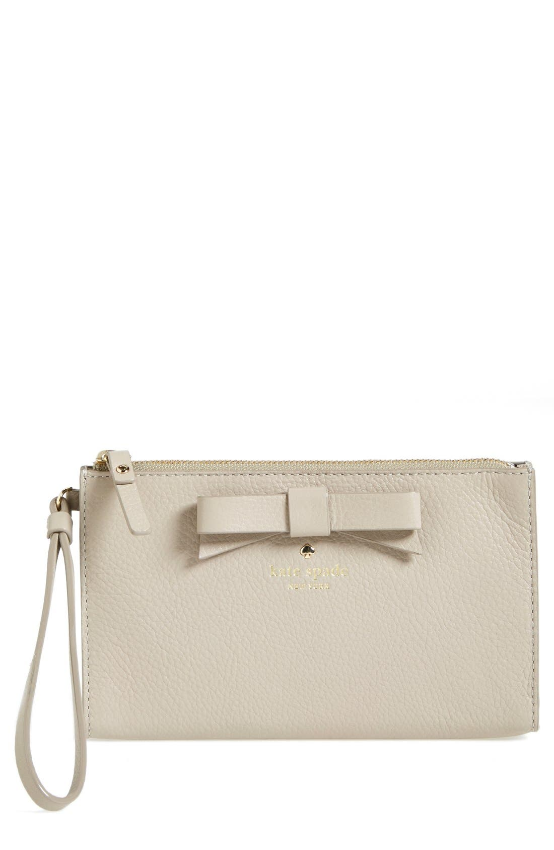 Alternate Image 1 Selected - kate spade new york 'north court - bow leyna' pebbled leather wristlet clutch (Nordstrom Exclusive)