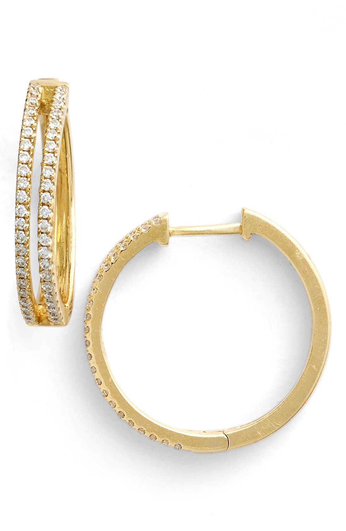BONY LEVY Diamond Split Hoop Earrings