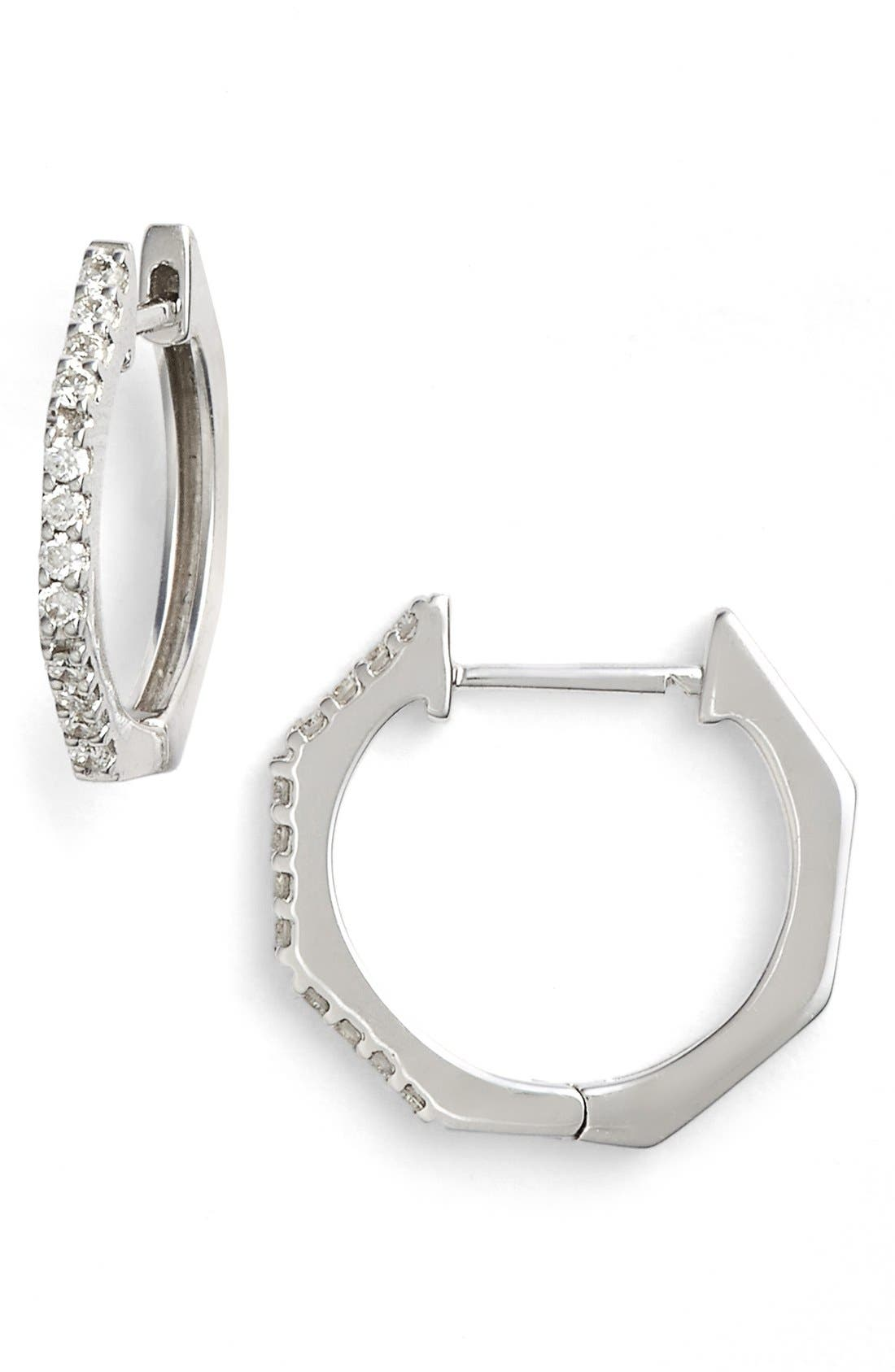 BONY LEVY Diamond Geometric Hoop Earrings