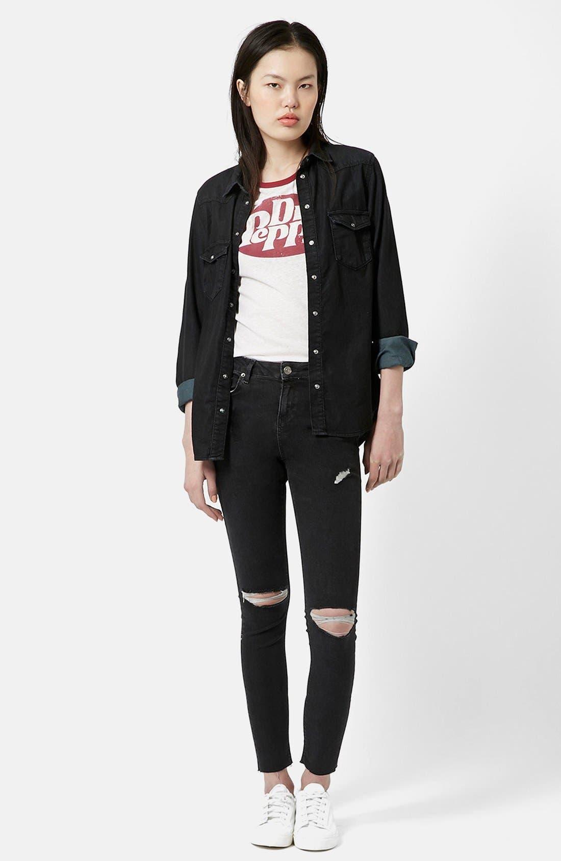 Alternate Image 5  - Topshop 'Jamie' Ripped Skinny Jeans (Black) (Petite)