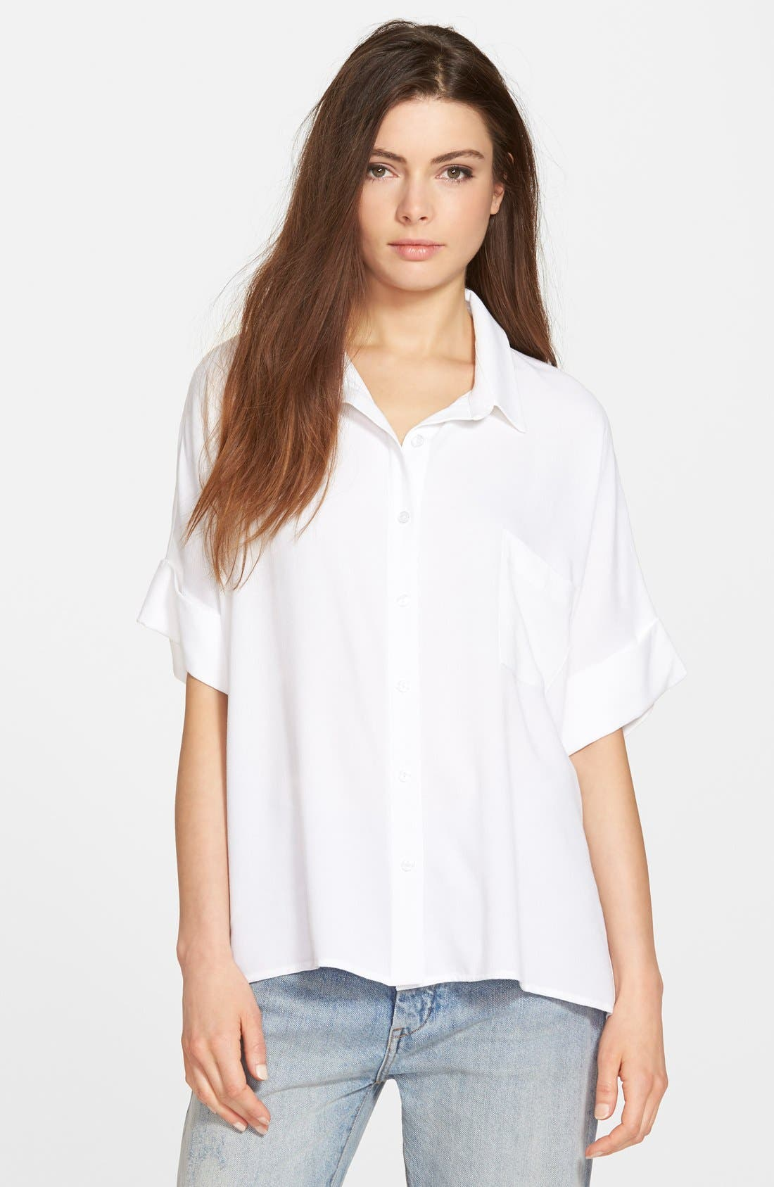 Main Image - Leith Oversize Button Front Shirt