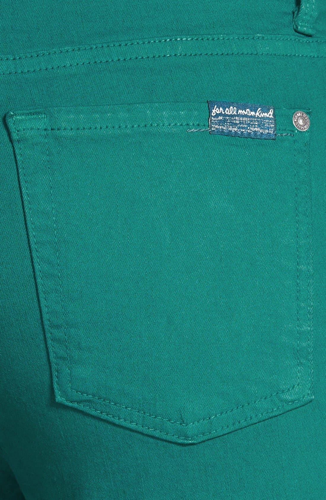 Alternate Image 3  - 7 For All Mankind® High Rise Ankle Skinny Jeans (Teal Green)