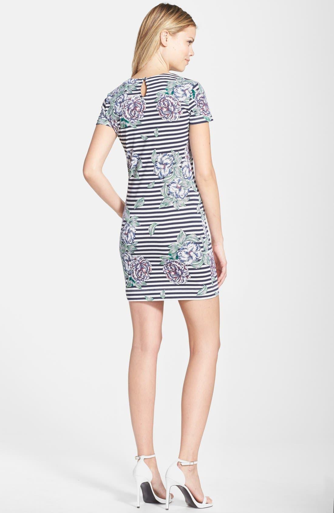 Alternate Image 2  - French Connection 'Bonita' Stripe Floral Body-Con Dress