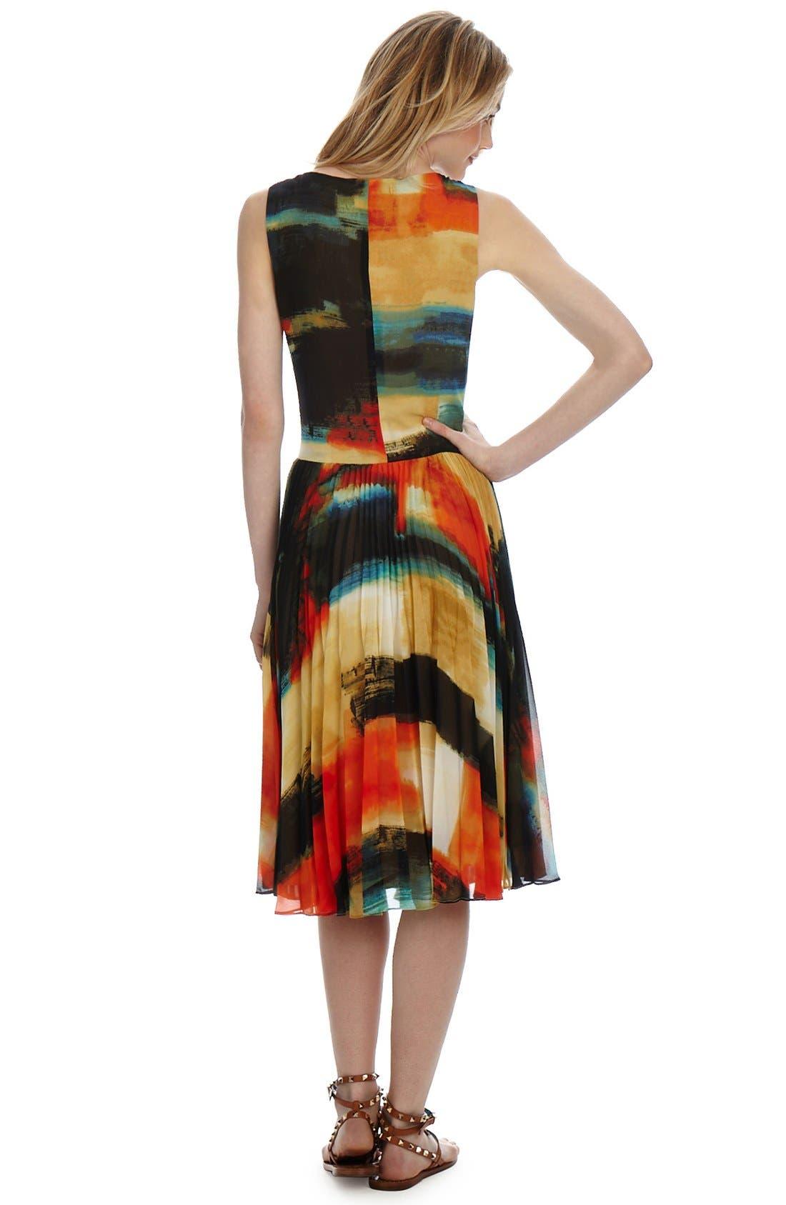 Alternate Image 2  - Donna Morgan 'Watercolor' Pleated Chiffon Midi Dress