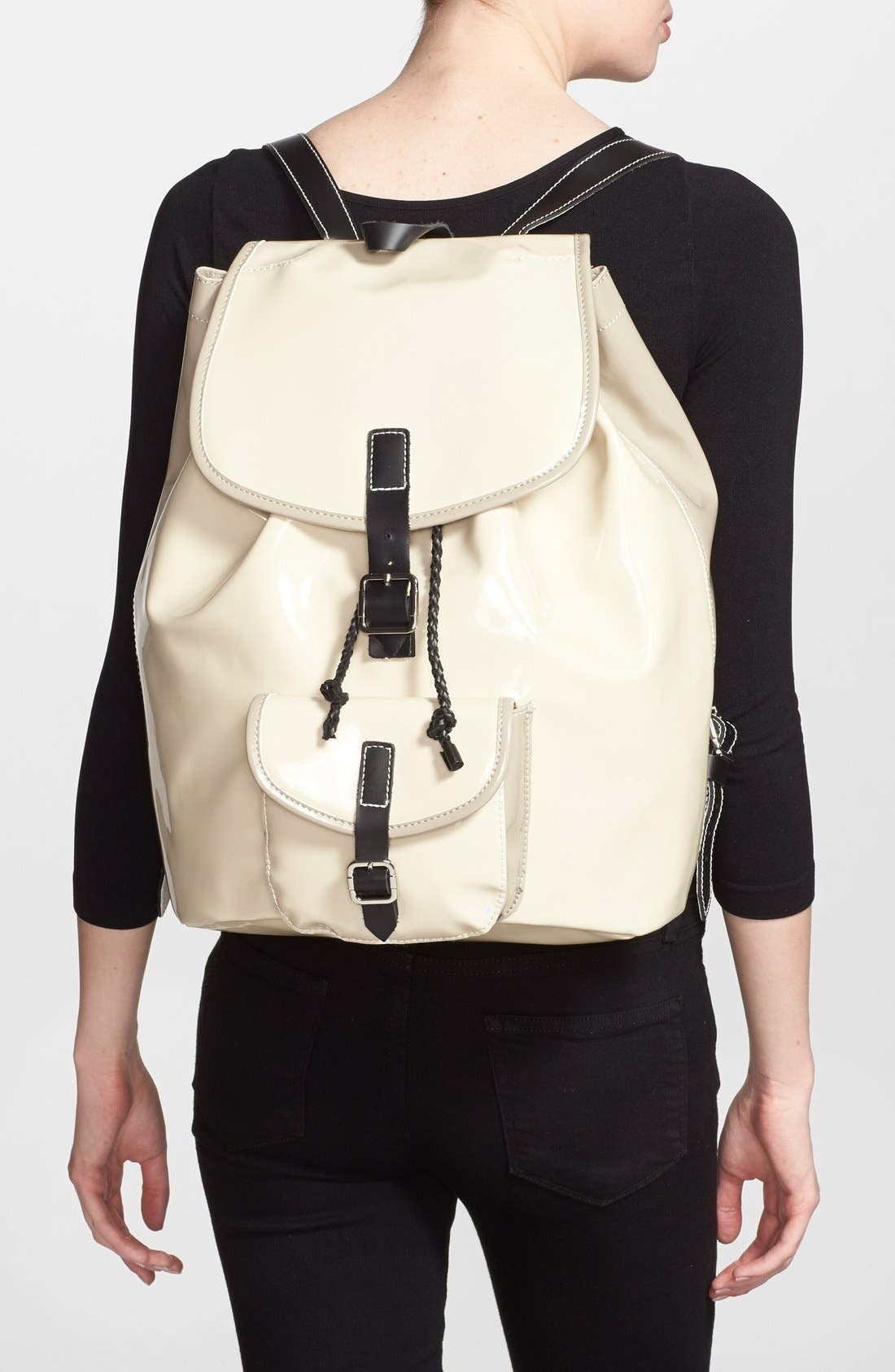 Alternate Image 2  - Harper Ave 'Mueck' Faux Patent Leather Backpack