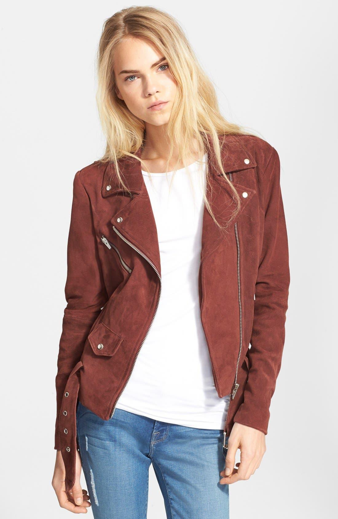 Main Image - Veda 'Jayne' Suede Moto Jacket